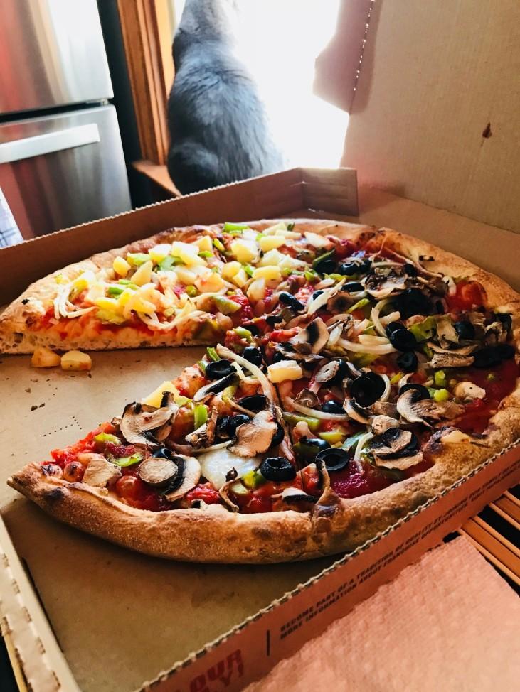 Papa John's Vegan Pizza- And Our Cat, Gigi.